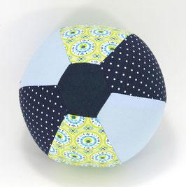 Ballonball klein mit Glöckchen hellblau/dunkelblau/hellgrün