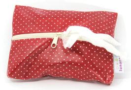 Feuchttücherhülle rot mit kleinen Punkten