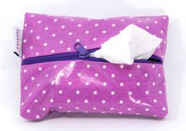 Feuchttücherhülle pink gepunktet mit violettem Reißverschluss