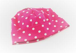 Jersey Käppli pink/weiss gepunktet