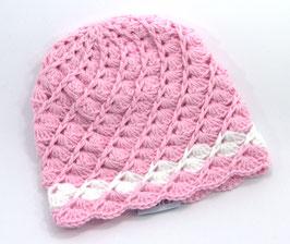 Häkelkäppchen rosa/weiss