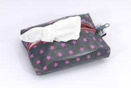 Feuchttücherhülle grau/pink