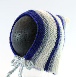 Strickkäppchen  blau/grau/creme