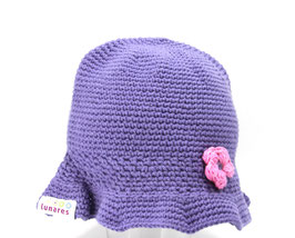 Sommerhütchen violet mit Blümchen