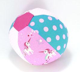 Ballonball klein mit Glöckchen Einhorn rosa/türkis