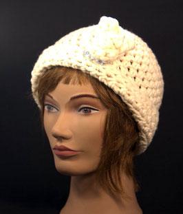 Merino Mütze mit Rose