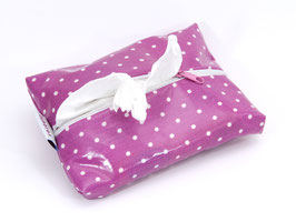 Feuchttücherhülle pink gepunktet mit weißem Reißverschluss