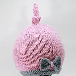 Strickmütze Merino rosa mit Schleife