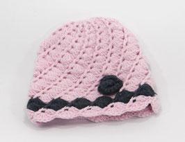 Häkelkäppchen rosa/dunkelgrau
