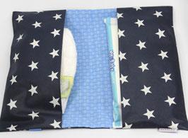 Windeltasche dunkelblaue Sterne mit Hellblau