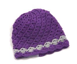 Häkelkäppchen violett/grau