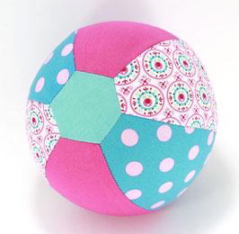 Ballonball klein mit Glöckchen pink/tuerkis