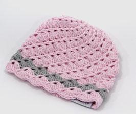 Häkelkäppchen rosa/grau