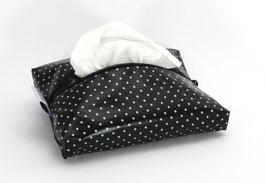 Feuchttücherhülle schwarz/weiss gepunktet