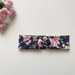 Kinder-Haarband Blumen dunkelblau