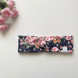 Haarband Blumen dunkelblau