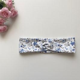 Kinder-Haarband blaue Blumen auf creme