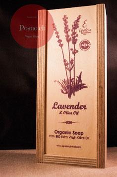 EPSILON Organic Oliven Öl Seife mit Lavendel (2 Stk.) in dekorativer Holzbox mit Holzseifenhalter