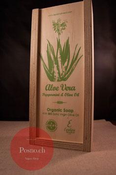 EPSILON Organic Oliven Öl Seife mit Aloe Vera und Pfefferminze (2 Stk.) in dekorativer Holzbox mit Holzseifenhalter
