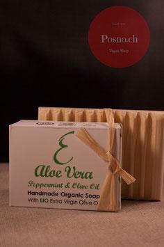 EPSILON Organic Oliven Öl Seife mit Aloe Vera und Pfefferminze mit Holzseifenhalter