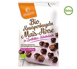 Landgarten KNUSPERKUGELN Mais-Hirse in Zartbitter-Schokolade, BIO, 40g