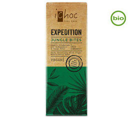 iChoc Bio JUNGLE BITES Zartbitterschokolade mit Kakaosplittern, 50g