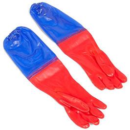 Wasserdichte Handschuhe 65 cm lang rot/blau (Schutzhandschuhe für Gartenarbeit, Aquarium und Teich)