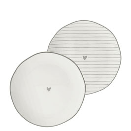 """BASTION COLLECTION Side Plate """"Herz"""" Grau"""