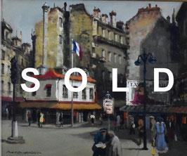 内田晃「パリ―の街角」 風景画  油彩 F8号  真作保証  人気実力画家 叙情溢れるマチエール!