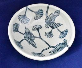 朝比奈克文 「優しい鳥鉢緑」 ふるさと 信州 陶芸 五山焼 真作保証  味わいと温もりの逸品