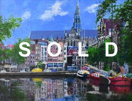 小田切訓「教会の見える運河」 油彩F6号 真作保証 欧州風景人気実力画家! 爽快なマチエール!