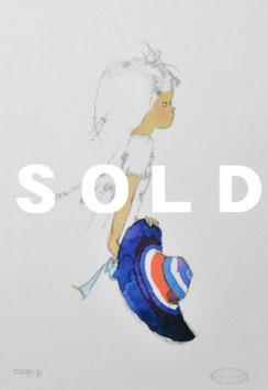 いわさきちひろ 「青いつば広帽子を持つ少女」 リトグラフ 真作保証 500部限定  ちひろ美術館印 版元のエンボス 証明書付 極美品