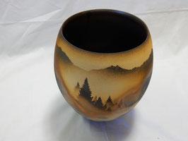 北田耕治「カラマツ紋花器」 陶器 ひぐらし窯 真作保証 信州の自然をダイナミックに表現