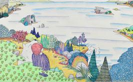 池田幸穂 「遠い目」 紙にペン・カラーペンシル 真作保証 ポップで軽やかな味わいのある風景 風景画 コンテンポラリー