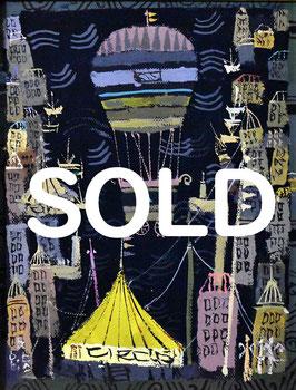早川義孝「風船旅行」 風景画 油彩 F0号 真作保証 幻想的なメルヘンの世界!