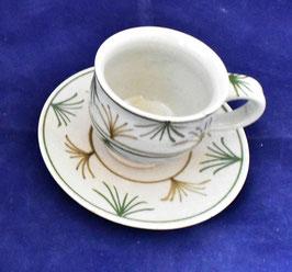 朝比奈克文 「コーヒーカップ あざみ」 ふるさと 信州 陶芸 五山焼 真作保証 味わいと温もりの逸品