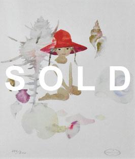 いわさきちひろ 「貝がらと赤い帽子の少女」 リトグラフ 真作保証 500部限定  ちひろ美術館印 版元のエンボス 極美品 保証書付