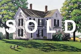 キャロル・コレット「Far From Town」 銅版画 手彩色 真作保証 人気画家の大判作品 美品!