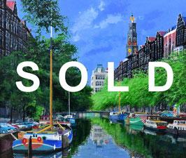 小田切訓「西教会のある運河」油彩F10号 真作保証 欧州風景人気実力画家!溢れる爽快感!