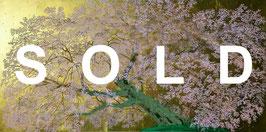 中島千波「阿蘇一心行の櫻」シルクスクリーン 真作保証 手張り本金箔 集大成の銘品 最近作 美品!