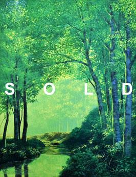 葛西俊逸 「森の声」 油彩F6号 真作保証 圧巻の風景画リアリズム!