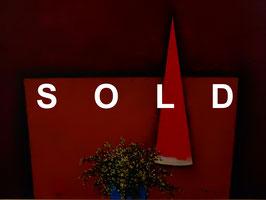 加賀美勣「卓上黄花」 油彩P10号 真作保証 鋭角的なフォルムと鮮やかな色彩!夭折の画家