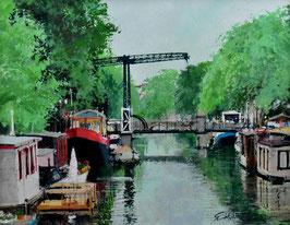 小田切訓 「跳橋のある運河」 風景画 油彩 F6号 真作保証 欧州風景人気実力画家! 旅情豊か!落ち着いた雰囲気の傑作!