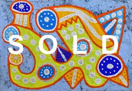 カミジョウミカ「ギュニョっとはみだせ」 コンテンポラリーアート  アクリルガッシュ SM  真作保証 SOMPOパラリンアートカップグランプリ