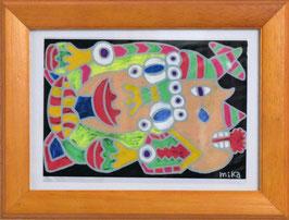 カミジョウミカ 「人間が宇宙人に飲みこまれる」 オリジナルポストカード フレーム付 コンテンポラリー アートグッズ