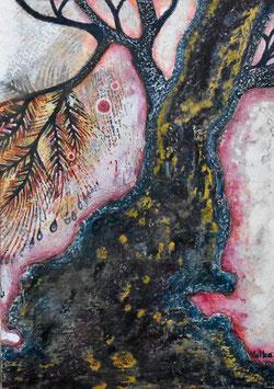 高野結花 「いにしえの木」 コンテンポラリーアート B5サイズ ミクストメディア 真作保証 POWER OF TREEをテーマに描き続ける若きアーティストの傑作