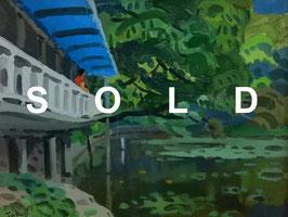 中村琢二「鎌倉八幡の池」 油彩F6号 真作保証 芸術院会員