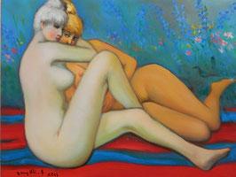 古沢岩美「なかよし」 人物画 油彩 F6号 真作保証 エロチシズムをテーマに描き続けた画伯の傑作!