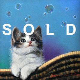 八代亜紀 「風が・・・」 油彩 S3号 真作保証 人気歌手 人気画家 ル・サロン永久会員! 可愛すぎる逸品!  動物画