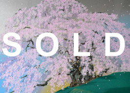 中島千波「清晨三春の瀧櫻」シルクスクリーン 12号 真作保証 清々しく華やかな銘品 東京藝術大学名誉教授 極美品!